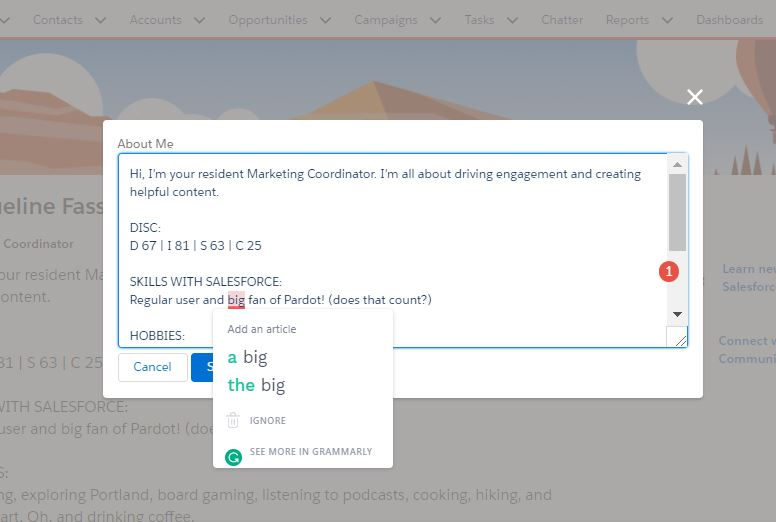 Grammarly editor Chrome extension for Salesforce users