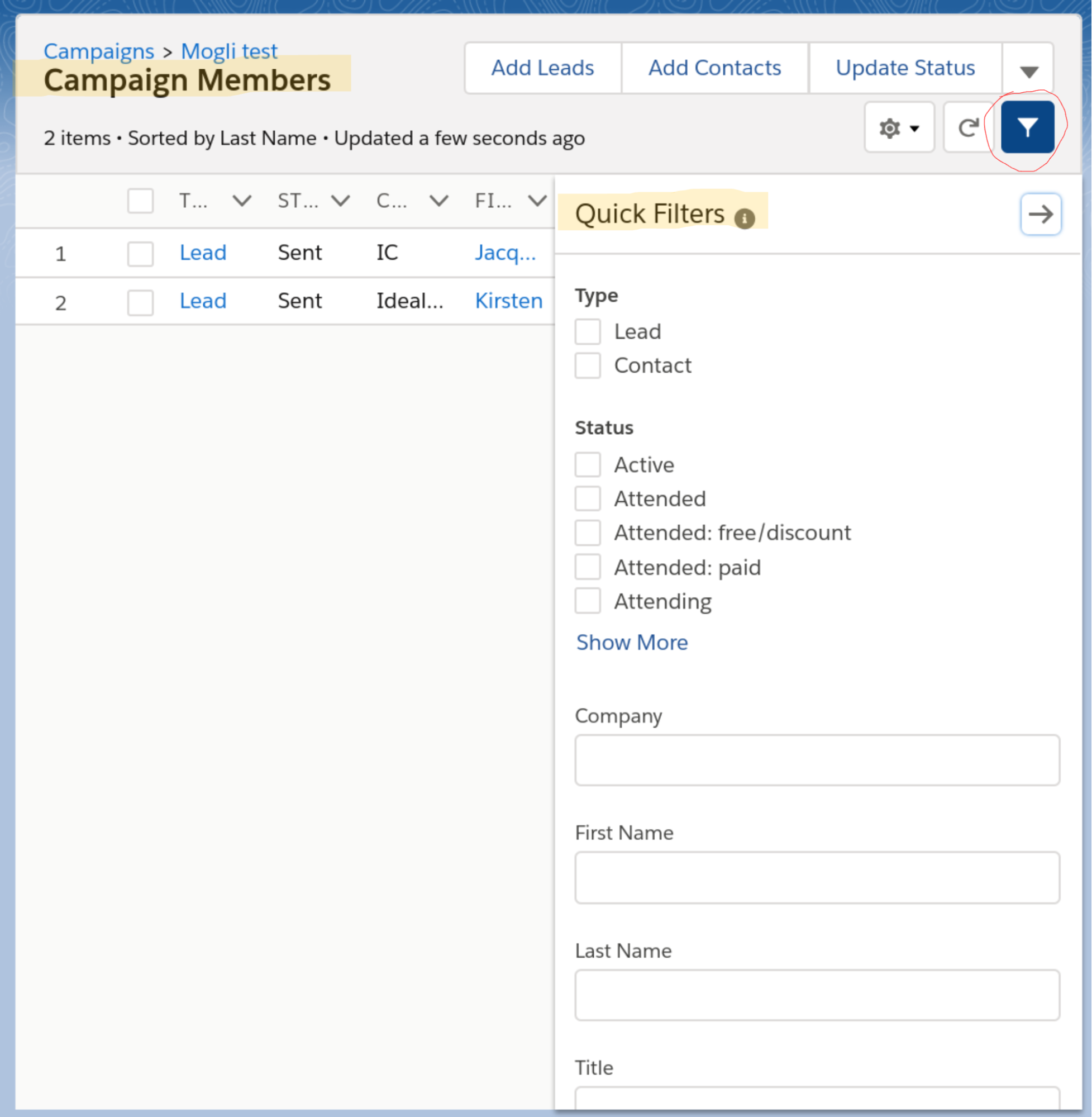 Quick search filters in Salesforce Winter 19