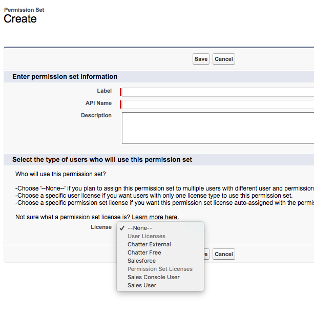 Creating New Permission Sets